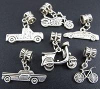 vehicle оптовых-Автомобильный мотоцикл Автомобильный сплав Dangle Big Hole Beads 6styles 60pcs / lot Antique Silver Fit European Charm Bracelet
