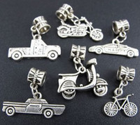 Wholesale Bike Charms - Car Bike Motor Vehicle Alloy Dangle Big Hole Beads 6styles 60pcs lot Antique Silver Fit European Charm Bracelet