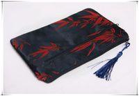 Wholesale Double Zipped Purses - Double Zip Purse Cosmetic Makeup Bag Women Silk Tassel Storage Pouches 10pcs lot mix Color Free