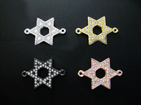 Wholesale Sideways Connector Beads Charms - 40PCS Mixed Plated SideWays Crystal Rhinestones Star of David Metal Bracelets Connector Charm Beads