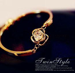 Wholesale fresh flower bracelets - Rose flower bracelet zircon flash retro gift Korean rhinestones OL fresh female version minimalist