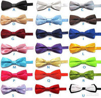 Wholesale Wholesale Ties Bowties - 2-layer baby Ties Solid Plain Formal Wedding Baby Boys Tuxedo Solid BOWTIES SUIT BOW TIE 30pc lot