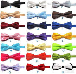 Wholesale Music Baby - 2-layer baby Ties Solid Plain Formal Wedding Baby Boys Tuxedo Solid BOWTIES SUIT BOW TIE 30pc lot