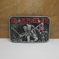 Wholesale Iron Maiden Free Shipping - BuckleHome iron maiden belt buckle FP-02184 with pewter finish plating free shipping