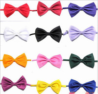 Wholesale Girls Bowties - Boy Ties neckties Plain color baby Solid Bowties Boys & Girls Students Bow Tie Fashion Baby Tie bowtie 100pc lot