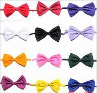 Wholesale Wholesale Bowties Neckties - Boy Ties neckties Plain color baby Solid Bowties Boys & Girls Students Bow Tie Fashion Baby Tie bowtie 100pc lot
