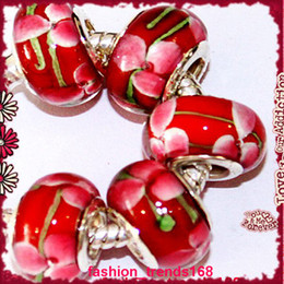 Wholesale Murano Style - LOT 10PCS STERLING Style 925 SILVER RED FLOWER LAMPWORK MURANO GLASS BEAD EUROPEAN CHARM lOOSE BEADS DIY UNIQUE FIT FOR PANDORA BRACELET