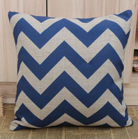 Wholesale Chevron Linen - Free shipping Blue Chevron Zig Zag Cotton Linen Cushion Cover Pillow Cover 45CMx45cm pillow case