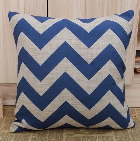 Free shipping Blue Chevron Zig Zag Cotton Linen Cushion Cover Pillow Cover 45CMx45cm pillow case