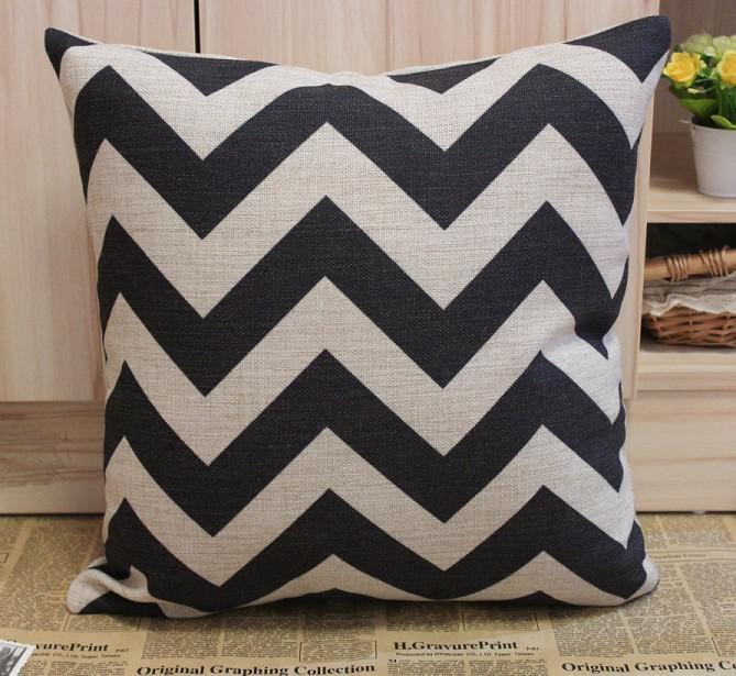 #JL033A Black Chevron Zig Zag Cotton Linen Cushion Cover Pillow Cover 45CMx45cm Pillow Case