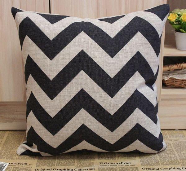 #JL033A Free shipping Black Chevron Zig Zag Cotton Linen Cushion Cover Pillow Cover 45CMx45cm Pillow Case