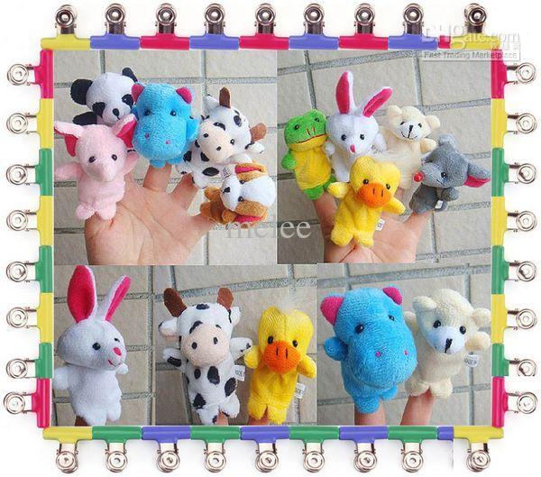Clearance! baby finger puppets Plush Toys Animal Finger Puppets 10 style set christmas gift