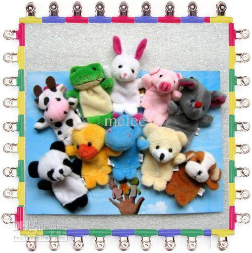 Promotion Baby Plush Toy Mick Finger Puppets Talking Props 10 animal group