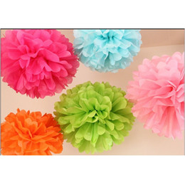 "Wholesale Hot Tissue - Free Shipping Multi-color Tissue Paper Flower Ball Tissue Paper Pom Poms 10"" 25cm Wedding Decoration Hot"