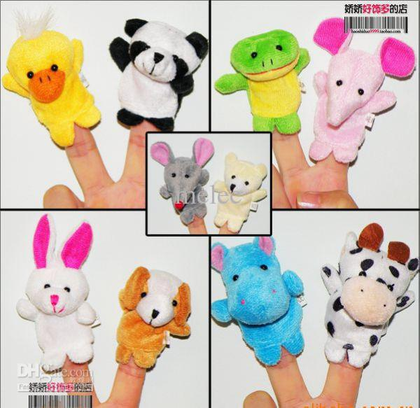 Promotion Free Shipping 50pcs/lot Baby Plush Toy Mick Finger Puppets Talking Props (10 animal group)