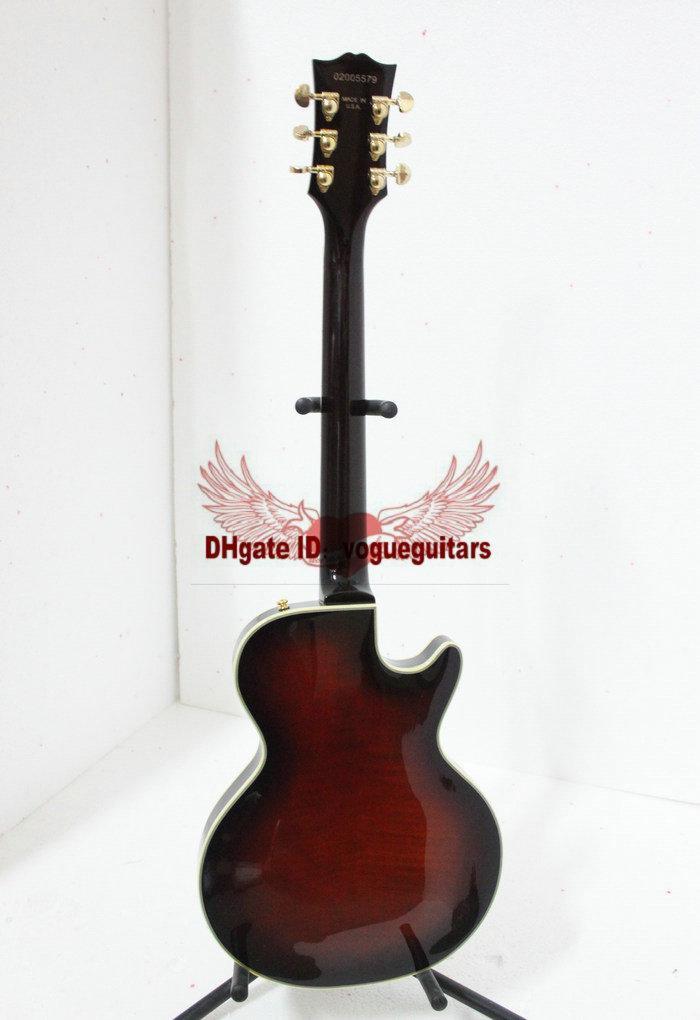 最高の高品質最新の黒チェリー中空左手ジャズギターフラワーフィンガーボードA6