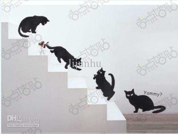 Cartoon Cat Stairway Removable Wall Stickers Art DIY Decoration Decals  Quotes Family Bedroom Decal