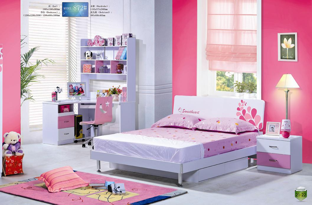 2017 Mdf Pink Lovely Children Bedroom Furniture Set From ...