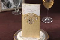Wholesale CW2002 gold hollow out Invitation card Wedding Invitations come envelopes sealed card