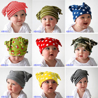 Wholesale knit fabric newborn online - Baby caps Lovely knitting hat crochet knitting children s caps cotton fabric hats kids baby hats