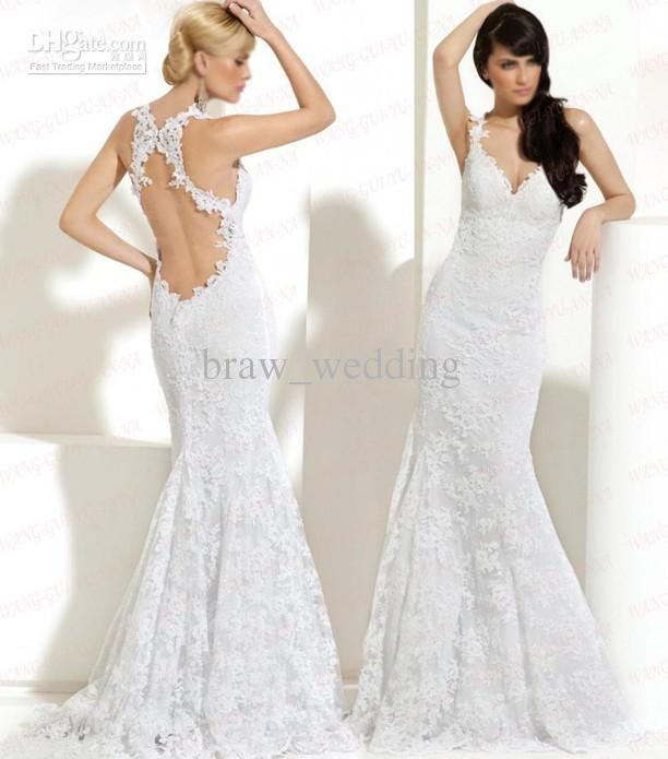 New Arrival V Neck Open Back Lace Mermaid Sweep Wedding Dress Bridal Gown W 51 Backless Dresses Beaded From