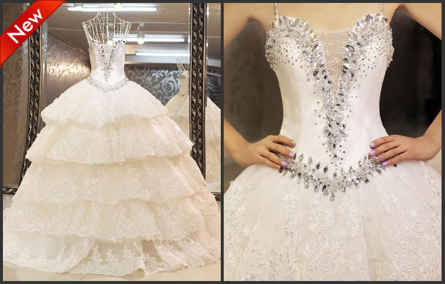Bling Beaded Wedding Dress With Crystals Sequined Tiered Lace Bridal Dresses Spaghetti Straps Ball Gown Vestido De Noiva Simple