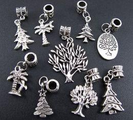 Wholesale Diy Christmas Trees - Life Tree Dangle Big Hole Beads 135pcs lot Tibetan Silver 9Styles Fit European Charm Bracelet Jewelry DIY