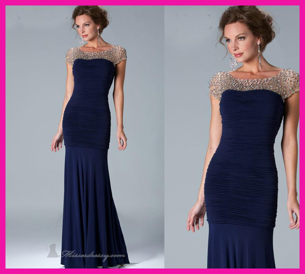 Unusual Mother Of The Bride Dresses: Unique Navy Blue Cap Sleeve Crystals Chiffon Mermaid