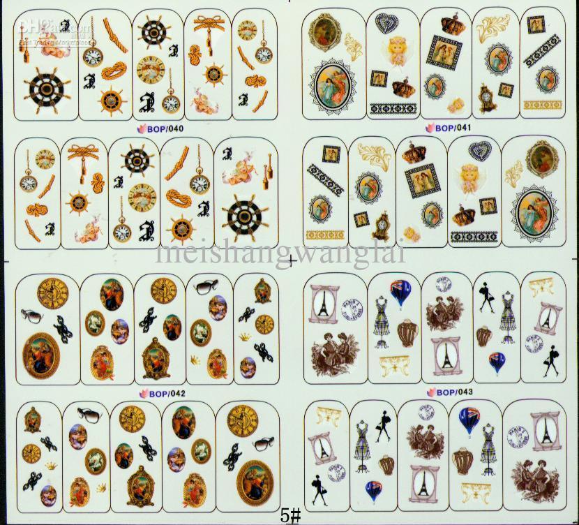 Nail Art Decal Adesivo de Unhas de Água 50 pçs / lote 4in1 Crânio Prego Decalques Transferência de Água Etiqueta Do Prego
