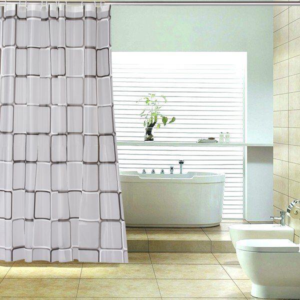 Black And White Check Grid PEVA Shower Curtain Bath Bathroom Curtain Free  Shipping