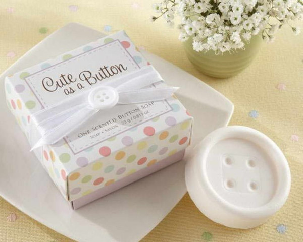 20pcs Lot Wedding Favor Party Gift Bridal Baby Shower Button Scented Soap Box Home Garden