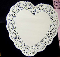 Wholesale Paper Doilies Heart - Wholesale Romantic Embossed Heart Paper doily Cake Doilies 10 inch (400pcs) Free shipping