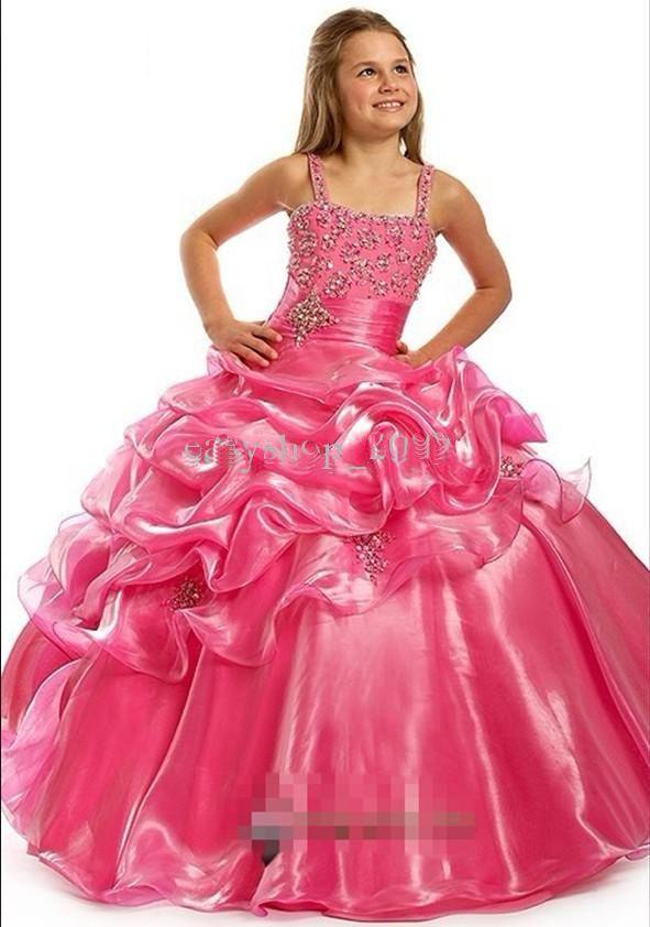 Compre Nuevo Organza De Color Rosa Con Applique Granos Orincess ...