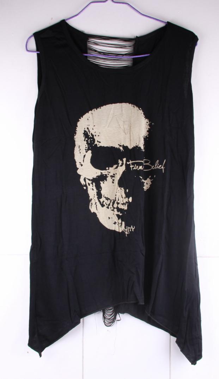 T Shirts Skull Punk Singlet Dress Vintage Tank Pop Sexy Top Long ...