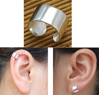 Wholesale Ear Cuff Band - fashion jewelry earrings !New 925 silver polish wide band plain ear cuff earrings