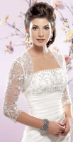 Wholesale Shawl Appliques - 2015 Custom Made Cheap Sheer 3 4 Long Sleeves White Ivory Lace Bolero Wedding Jackets Bridal Wraps