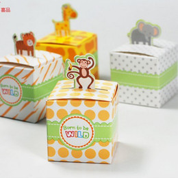 Wholesale orange favor boxes - Rainforest Animals Wedding Candy Boxes Baby Birthday Party Paper Elephant Monkey Tiger 100pcs Lot