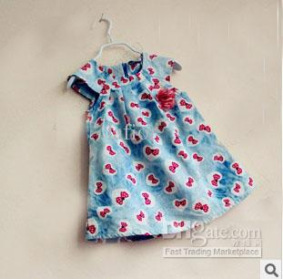 55480d9ff 2013 Girls Red Bow Pattern Printed Dress Children Summer Dress ...