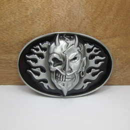 Discount enamel belt buckles - BuckleHome fashion skull belt buckle with black and red enamel with pewter finish FP-02966 with continous stock free shi