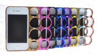 Wholesale Brass Knuckle Iphone - 10 pcs knuckle Metal brass plastic hard shell protective Skin Case cute Cover skin shell for Iphone