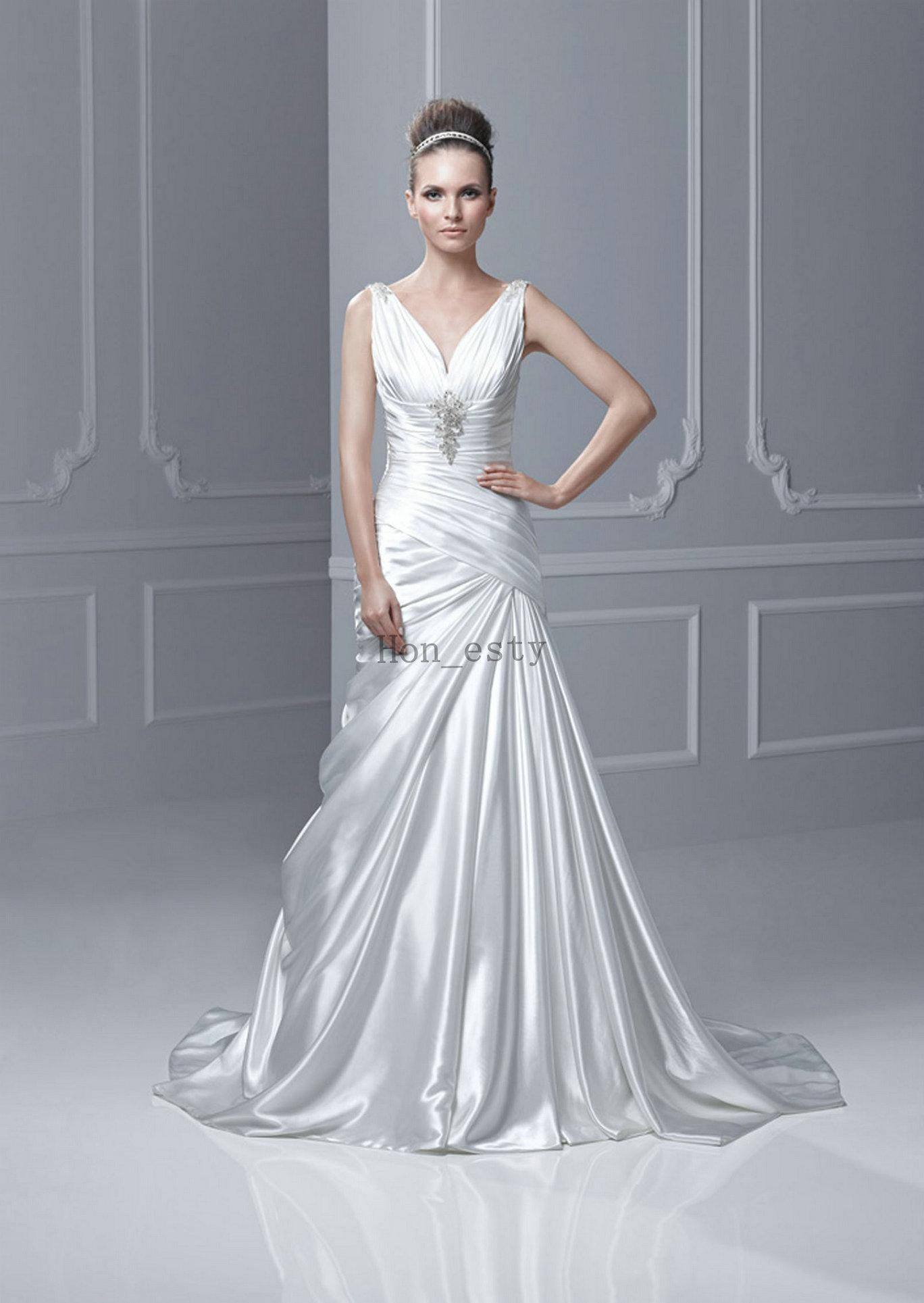 Discount designer a line wedding dresses silk like satin v for Satin silk wedding dresses