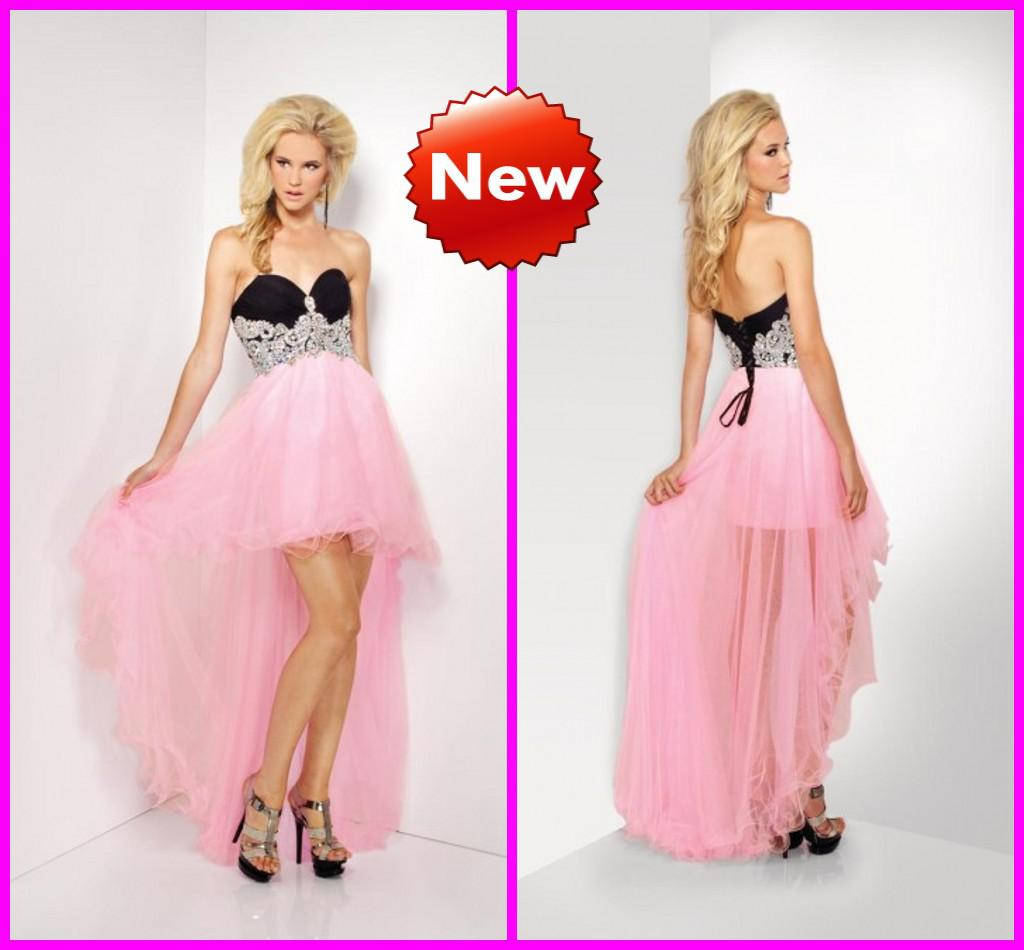 2016 Black And Pink High Low Prom Dresses Bling Bling Crystals ...