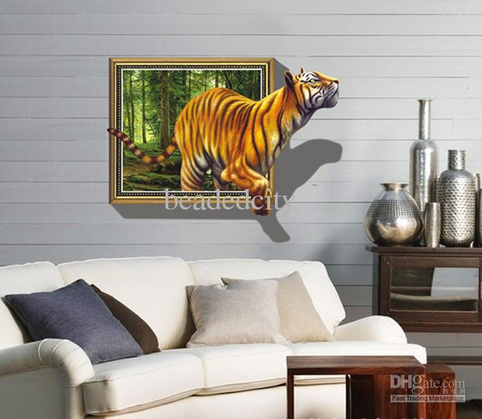 Funlife removable 3d window view tiger is coming living for Stickers murali 3d