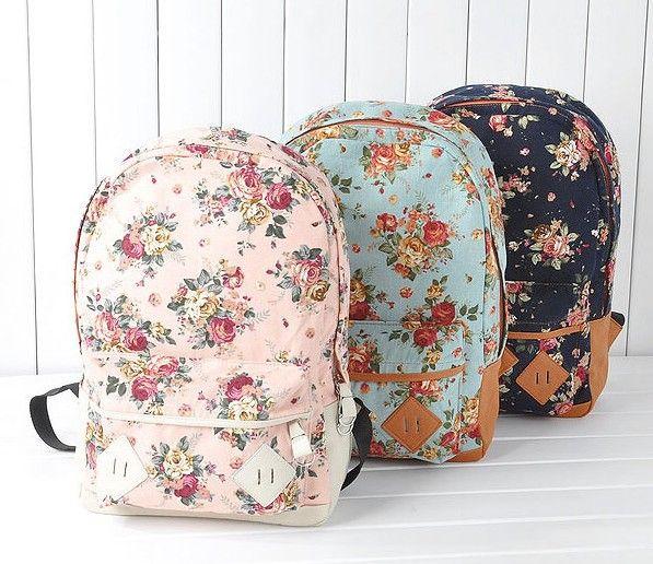 2015 Hot Fashion canvas backpack Flower Design fashion travelling bag schoolbag,