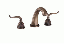 antique bronze mixer Canada - Free shipping antique Bronze clour 3 Pcs widespread bathroom sink faucet mixer tap Classic