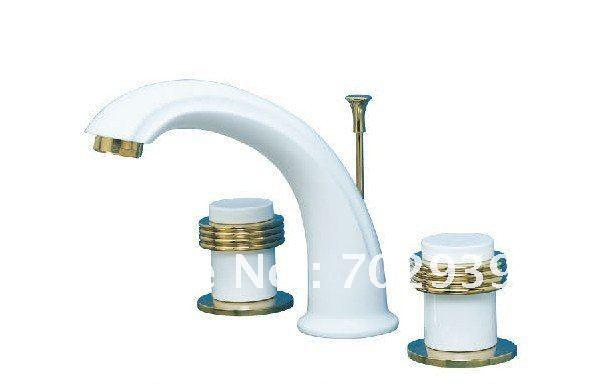 2018 White And Gold Pvd Finish Sink Faucets Widespread Lavtory ...