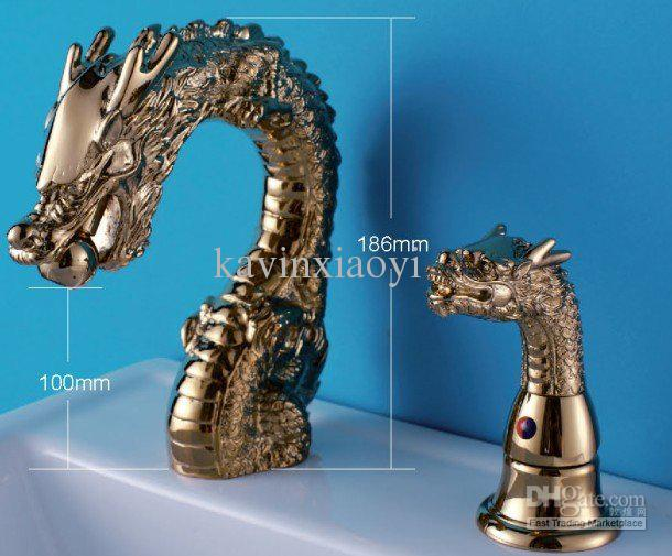 gold pvd bathroom sink faucet dragon faucet widespread lavatory sink faucet from kavinxiaoyi dhgatecom