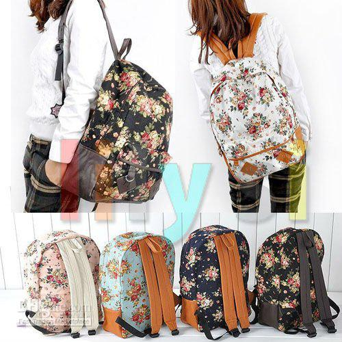 2015 New Girl Cute Vintage Canvas Handbag Flora School Book Campus ...