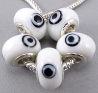 Wholesale Glass Evil Eye Charm Bracelet - 14mm Evil Eye Murano Lampwork 5mm 60pcs lot Big Hole Glass Beads Fit Charm Bracelet Jewelry DIY