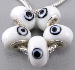 Wholesale Eye Glasses Bracelet - 14mm Evil Eye Murano Lampwork 5mm 60pcs lot Big Hole Glass Beads Fit Charm Bracelet Jewelry DIY